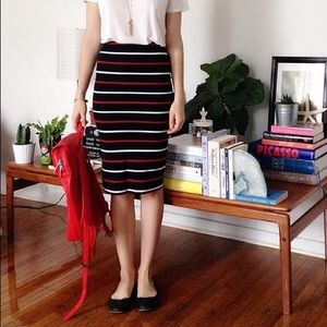 American Apparel stripe midi pencil skirt